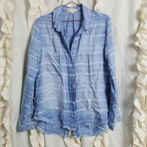 Cloth & Stone split back button up shirt chambray